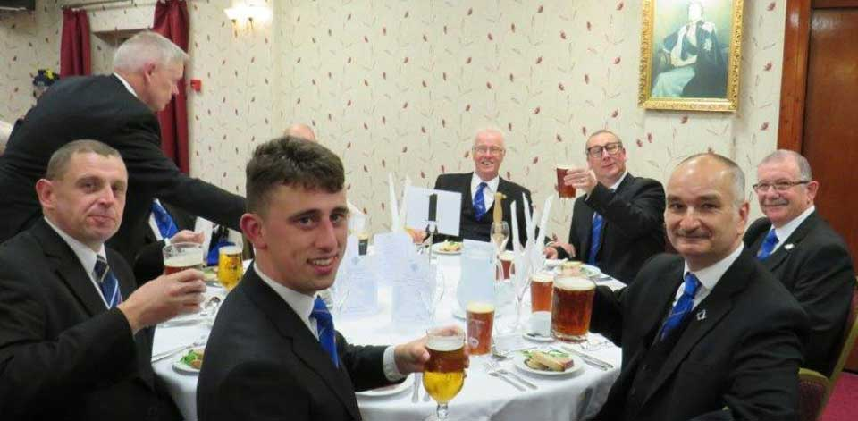 Pictured at the festive board, are: Geoff Pritchard, Scott Coxey, Steve Willingham, Shaun Haynes, Niall Coxey and Jon Evans.