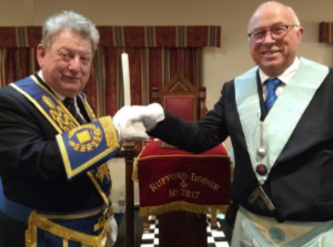 Ian Gee (left) congratulating Eric Ashcroft on becoming WM.