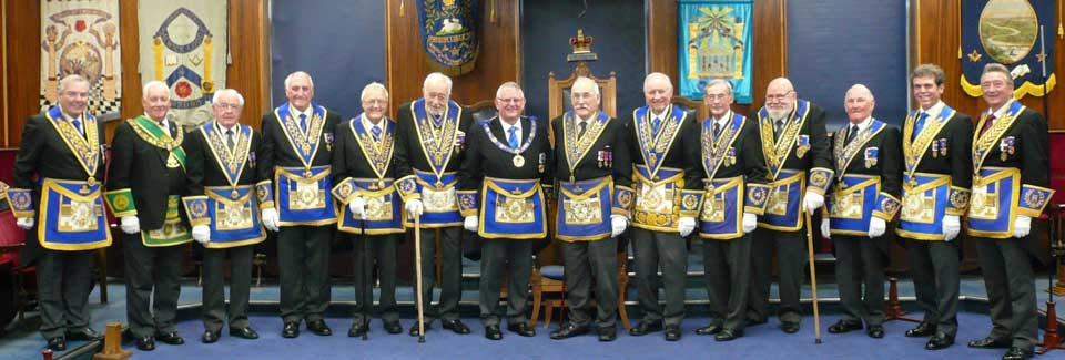 David Rhodes with Stewart Seddon and other grand officers.
