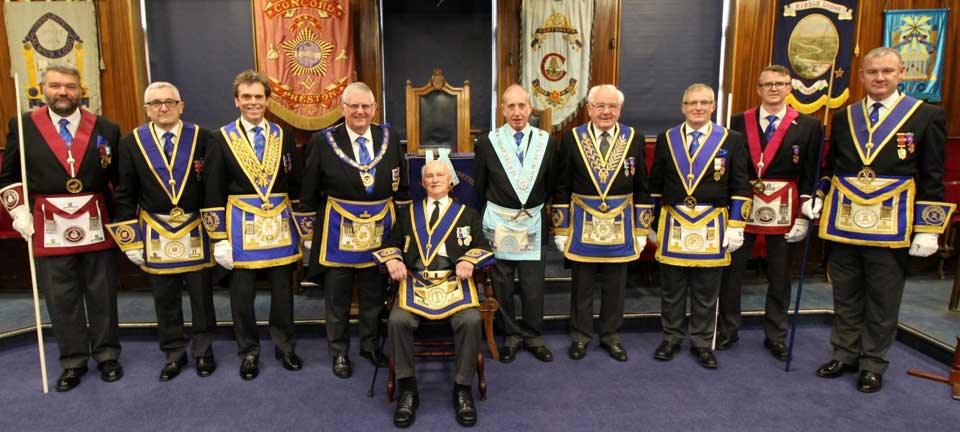 Syd (seated) with Stewart Seddon along with grand and acting Provincial grand officers.