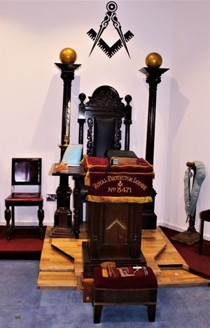 The lodge's master's chair and Bible cushion.