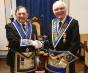 Jack Blackburn (left) with his proposer into Freemasonry, Terry Hudson.
