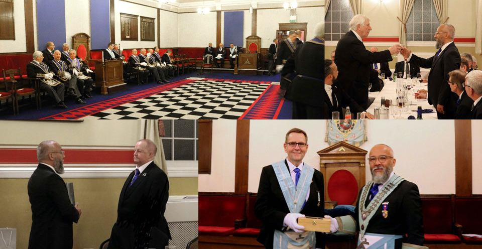 Pictured from top left clockwise, are: Some of the brethren waiting for the start. Norman Pritchard (left) toasts Tony during the master's song. Norman Corke (left) presents the master's tools to Tony. Tony (left) presents Bill Wainwright with a gift from the lodge.