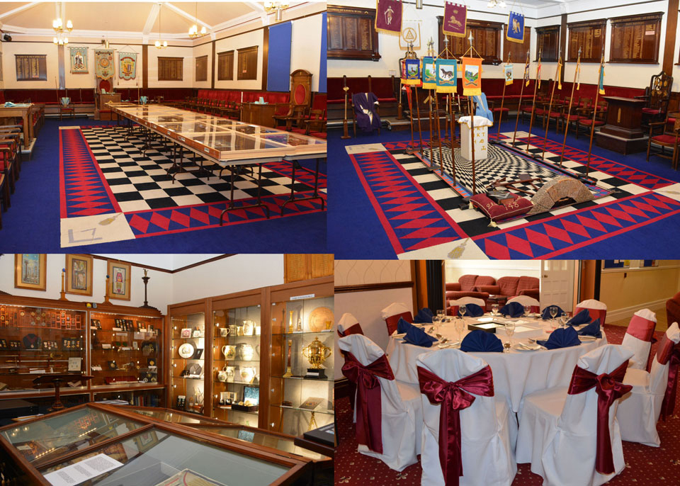 Pictured from the top left clockwise: The large lodge room. Small lodge room. Function facilities and the Masonic Museum.