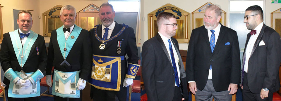 Pictured left from left to right, are: Andrew Perry, Ian Parker and Frank Umbers. Pictured right: Frank Umbers (centre) chats with the latest initiates to the lodge, Johnny White (left) and Jay Duncan-Noke.