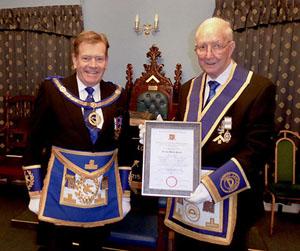 Kevin Poynton (left) congratulates Gordon Smith
