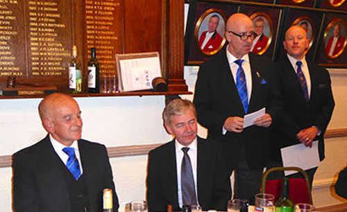 Pictured from left to right, seated are: Graham Fairley and Stephen White. Standing: Steven Williams proposing the toast to the new WM, attended by Malcolm Bell.