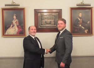 David Pickett (left) congratulates Jonathan Pagan