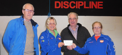 Steve Williams presenting the donation of £500 to Lancashire TAAG.