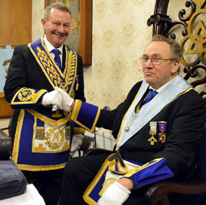 Paul Hesketh (left) congratulating Michael Worcester on being installed.