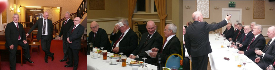 From left to right; Pic 1: Bryan Hoarty, Ray Thain, Barrie Crossley and Terry Ford chat before processing into the festive board; Pic 2: Bryan Hoarty feels the pressure and mops his brow; Pic 3: Brian Flynn toast the three principals during the principal's song