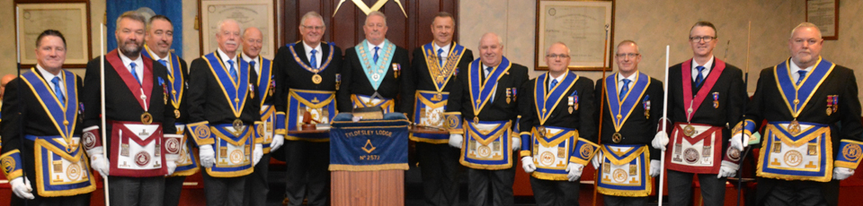 Bryan Hart with Stewart Seddon and grand and acting Provincial grand officers