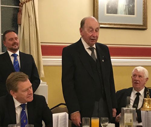 Bob Bingham (centre) responding to Kevin Poynton (left) and Norman Pritchard (right), with Neil MacSymons looking on.