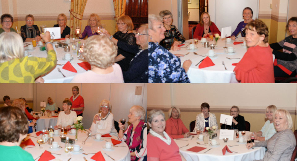 28 ladies enjoying a celebratory meal with Doris Bowden.