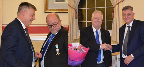 Pictured left: Robert Beeton (left) presenting Robert Wilson with his past master's jewel. Pictured right: John (left) receiving a bouquet of flowers.