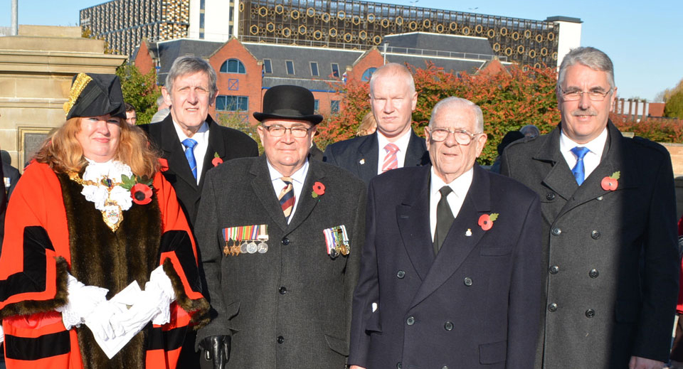 Pictured from left to right, are: Cllr Wendy Johnson Mayor of Warrington, John Tyrer, Les Taylor-Duff, John Moore, Stan Churm and Andy Barton.