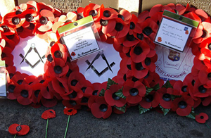 The wreaths on the Cenotaph in Wigan.