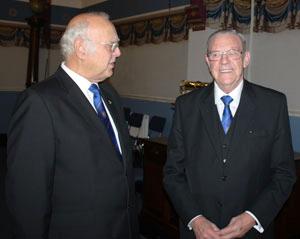 David Ogden (left) chats to celebrant Alan Keary.