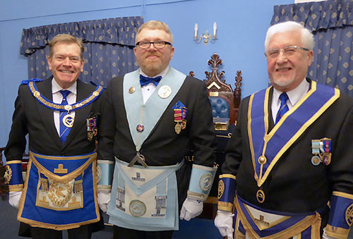 Pictured from left to right, are; Kevin Poynton, Alan Ledger and master elect Eric Carroll.