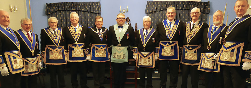 Grand and acting Provincial grand officers with Alan Ledger and Eric Carroll.