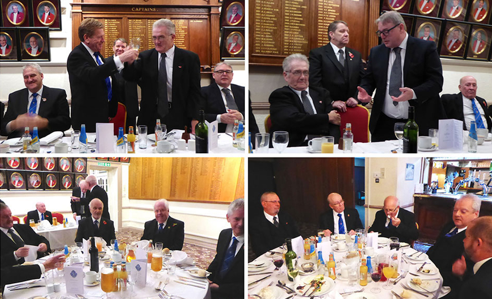 Pictured top left: Kevin Poynton takes wine with new master Geoffrey Cowan. Top right: Geoffrey Cowan (seated) listens to Peter Ryan propose the toast to his health. Bottom row: Groups of revellers enjoying the festivities.