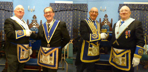 Pictured left: Steven Cornwell (left) welcomes the master elect Anthony Standish. Pictured right: Neil Pedder (left) welcomed by Steven Cornwell.