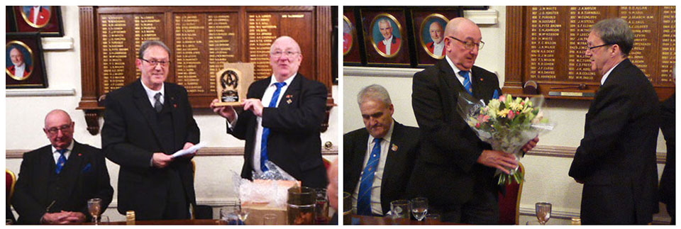Pictured left: Steven Cornwell shows brethren his bespoke plaque: Pictured right: Neil Pedder receives a bouquet of flowers from Anthony Standish.