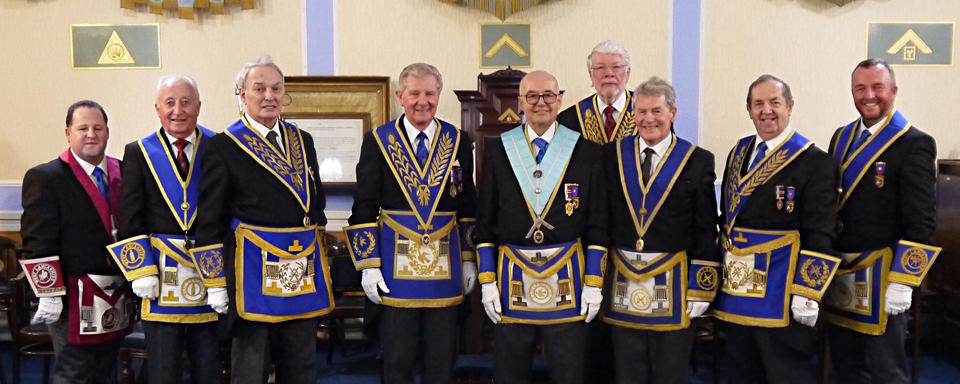 Pictured from left to right, are: Gary Harper, David Cook, Peter Bentham, Stuart Thornber, Dr Graham Hoadley, Ian Robertson, Michael Wigham, John Turpin and Stuart Alcock-Williams.