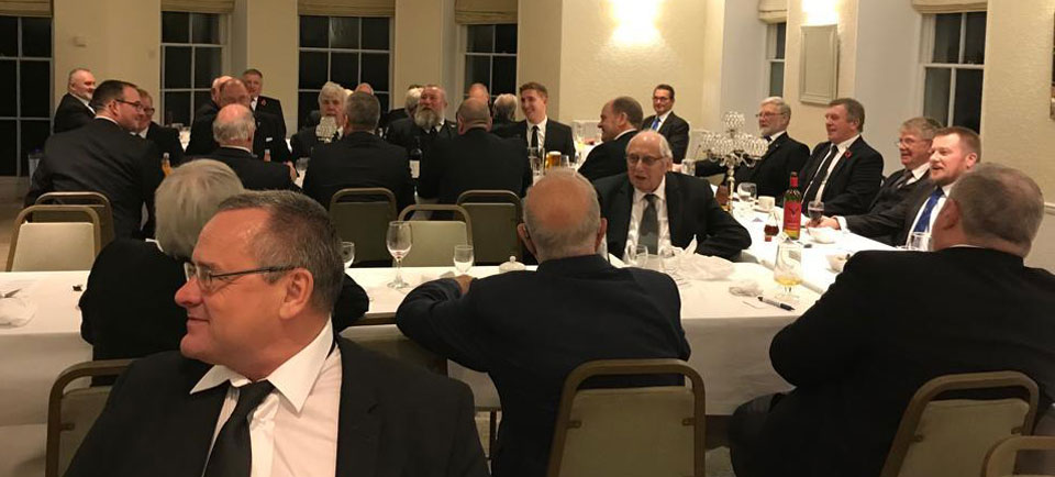 At the festive board.