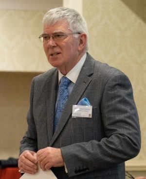 Tony Harrison addressing delegates