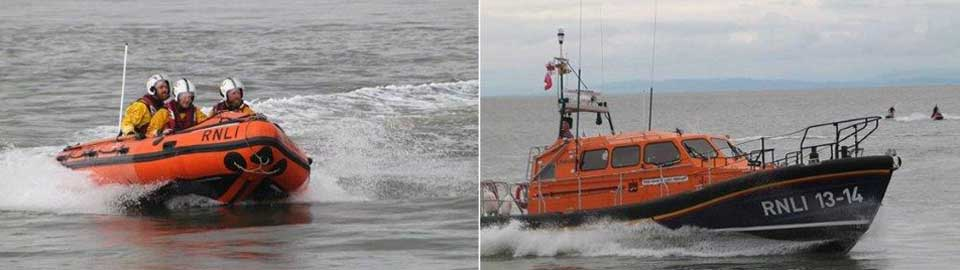 The two Fleetwood lifeboats, the Mary Elizabeth Barnes (left) and the Kenneth James Pierpoint.