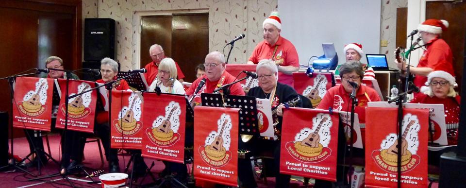 Members of the Wigan Ukulele Band.