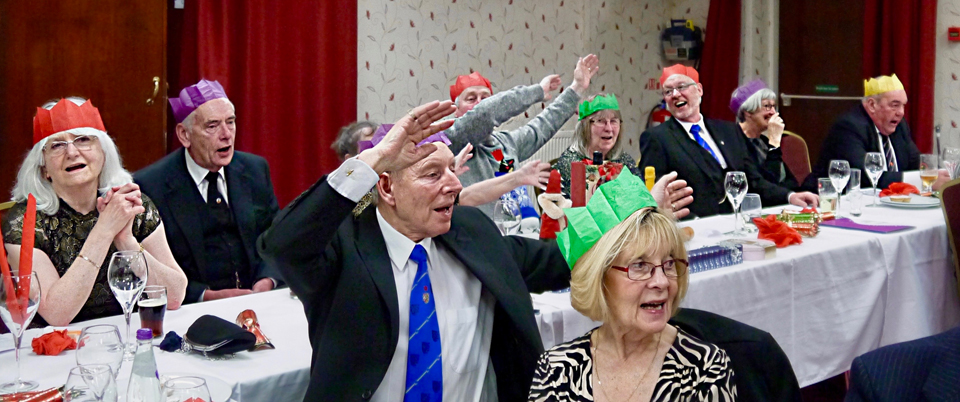 Brethren and guests enjoying the entertainment.