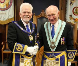David Randerson (left) congratulates Don Richardson.