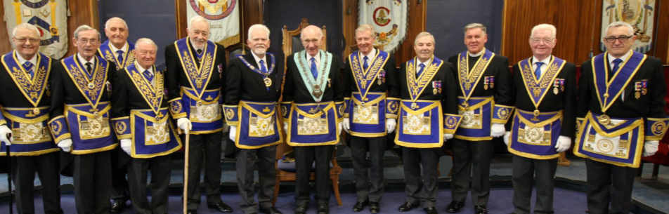 Don Richardson (centre) with grand officers and acting Provincial grand officers.