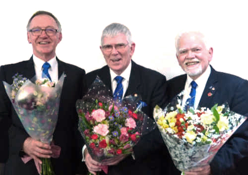 Flowers were presented to John Robbie Porter, Tony Harrison and David Randerson for their wives.