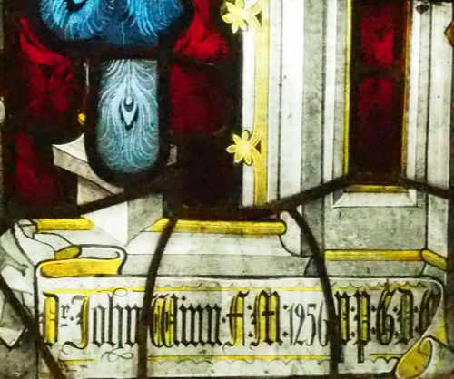 Detail from Dr John Winn's stained-glass window.