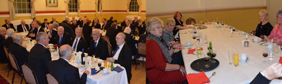 Pictured left: Members and guests at the social board. Right picture: Ladies enjoying a celebratory meal.