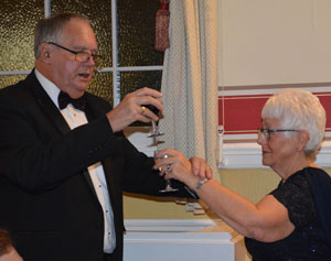 Gwilym toasting Jean as principal lady.