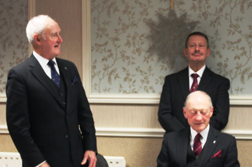 Stanley Oldfield (left) entertains, with Barry Jameson (seated) and Paul Hesketh.