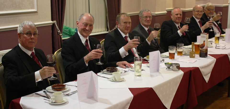 Enjoying the festive board. Pictured from left to right, are: Geoffrey Porter, Barry Jameson, David Brogan, Bill Petterson, Andrew Dobie, Tony Simms and Barry Dickinson.