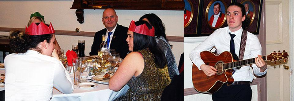 Pictured left: WM Alan Routledge and his guests. Pictured right: Gabriel Stockley provides the entertainment.