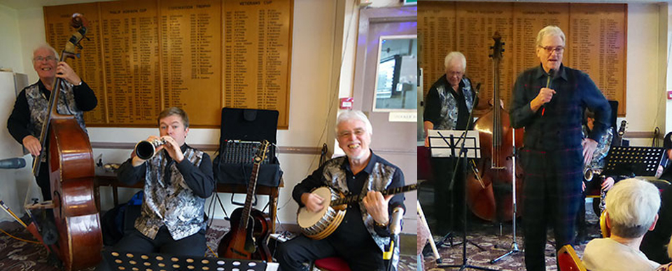Pictured left: The Savoy Trio in full swing. Pictured right: Alan Birchall entertaining the guests.