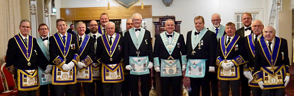 Members of Great Marton Lodge at the centenary meeting.