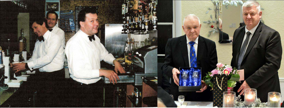 Pictured left: A younger Bob Baxendale working on the bar at Ridgemont House (early 1980). Pictured right: Colin Fisher presenting Bob Baxendale with a gift from the Lodge.