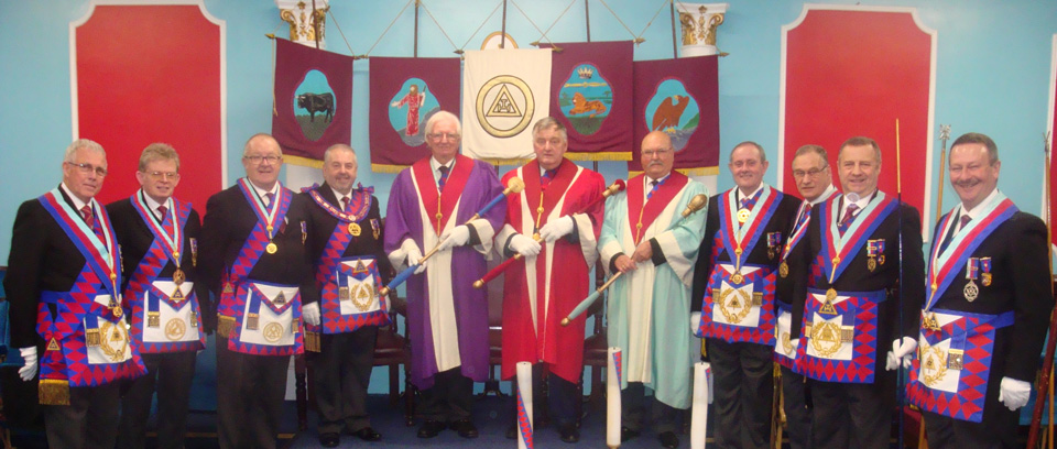The three principals with grand and Provincial grand officers