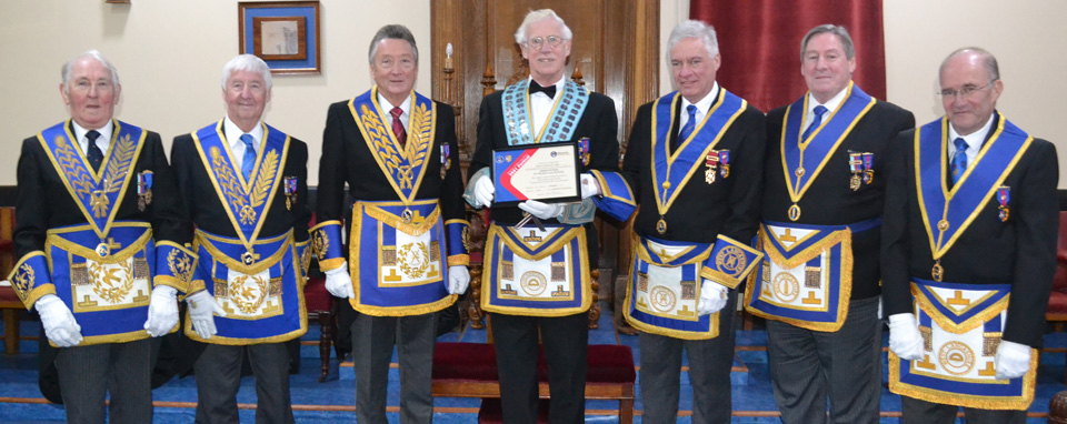 Pictured at the presentation of the 'Grand Patron' certificate from left to right, are; Peter Mason, Jim Wilson, John Smith, Adrian Gifford, Simon Hanson, Neil McGill and Alan Long