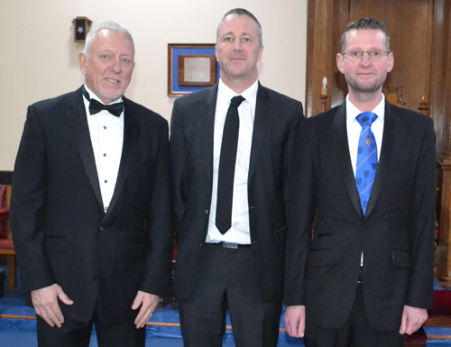 The brethren who presented the working tools, from left to right, are: James Milne, David Male and Lee Procter.