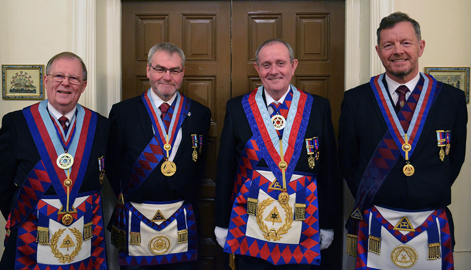 Waiting for the grand entrance, pictured from left to right, are: Colin Rowling, Barry Fletcher, Tony Hall and Dave Kemp.