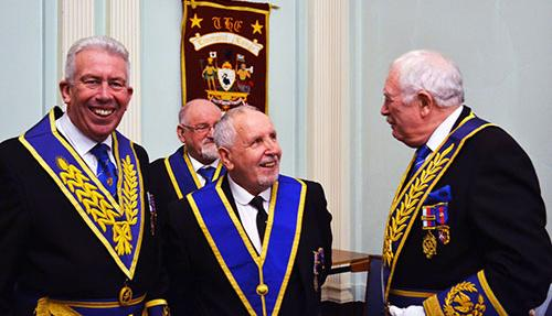 Waiting on a happy event. Pictured from left to right, are: Mark Matthews, Colin Svenson, Bernie Ashley and John Roberts.